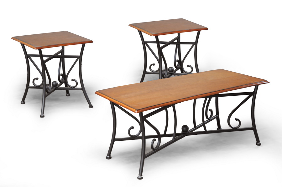 Baxton Studio Trident Wood And Metal 3 Piece Table Set Affordable Modern Fu
