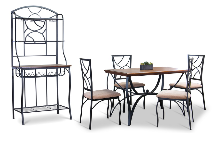 ... Baxton Studio Valletta Wood And Metal 6 Piece Transitional Dining Set  With Bakeru0027s Rack