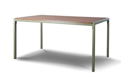 Baxton Studio Fiore Wood and Metal Transitional Dining Table Affordable modern furniture in Chicago, classic dining room furniture, modern dining table, cheap dining table