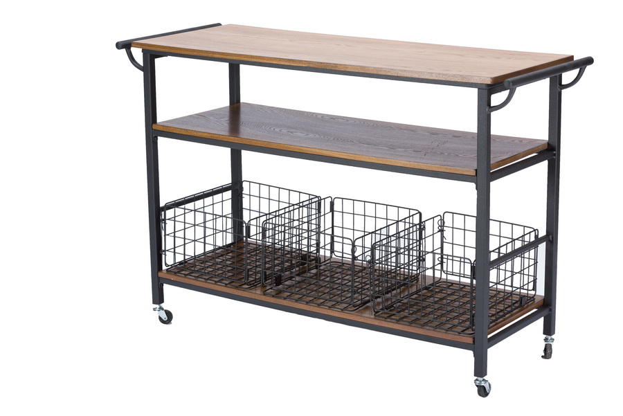 Baxton Studiolancashire Brown Wood Amp Metal Kitchen Cart