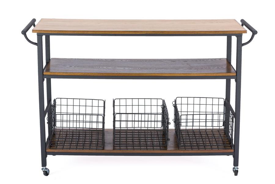 Baxton Studio Ylx  Kc Lancashire Brown Wood Metal Kitchen Cart