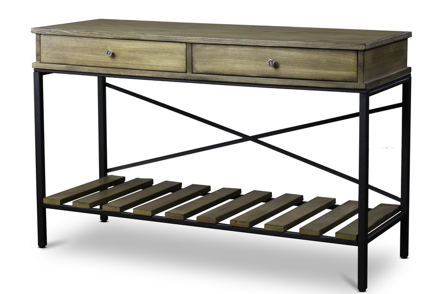 Baxton studionewcastle wood and metal console table criss for Metal and wood console tables