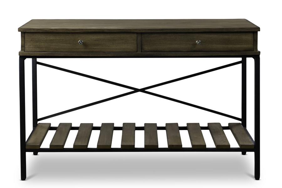 baxton studio newcastle wood and metal console bsoylx0003 - Metal Console Table