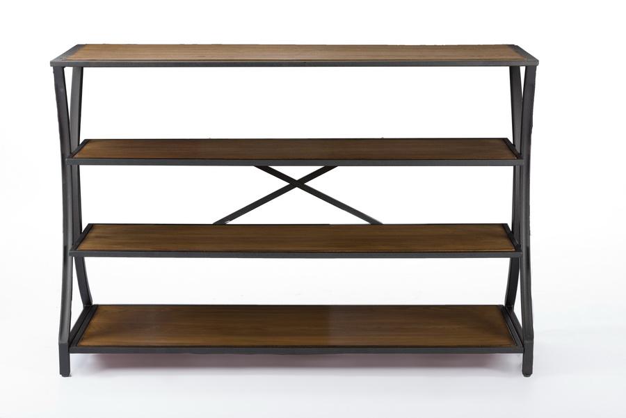 baxton studio lancashire brown wood u0026 metal console table bsoylx0004 - Metal Console Table