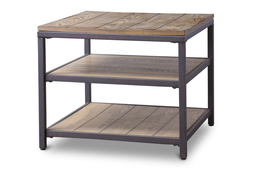 Baxton Studio Caribou Wood And Metal End Table Affordable Modern Furniture In Chicago