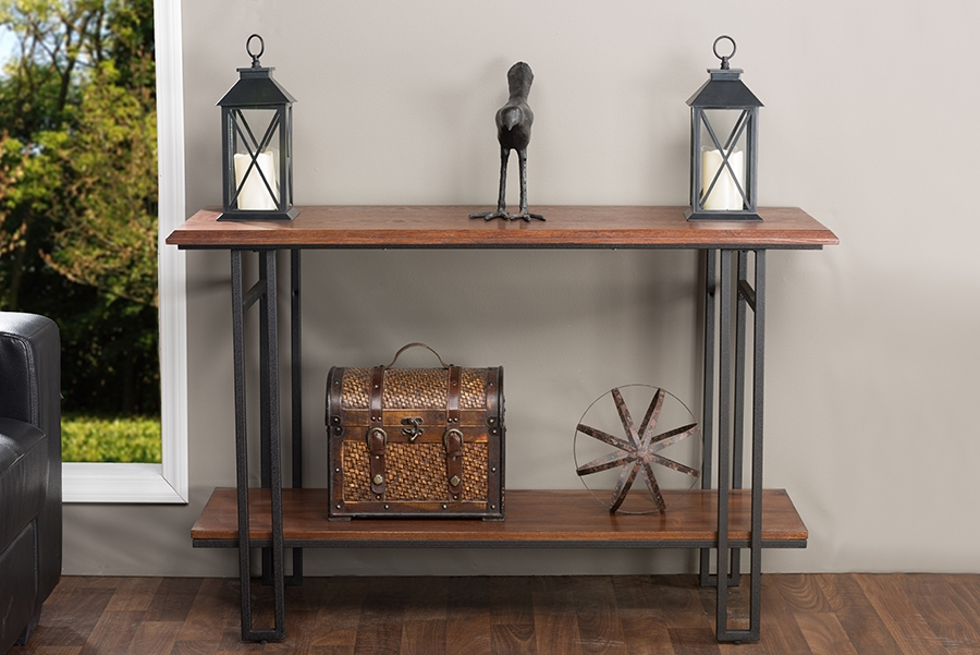 baxton studio newcastle wood and metal console table - Metal Console Table