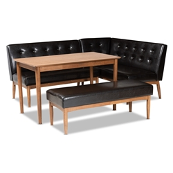 Baxton Studio Arvid Mid-Century Modern Dark Brown Faux Leather Upholstered 4-Piece Wood Dining Nook Set Affordable modern furniture in Chicago, classic dining room furniture, modern dining sets, cheap dining sets