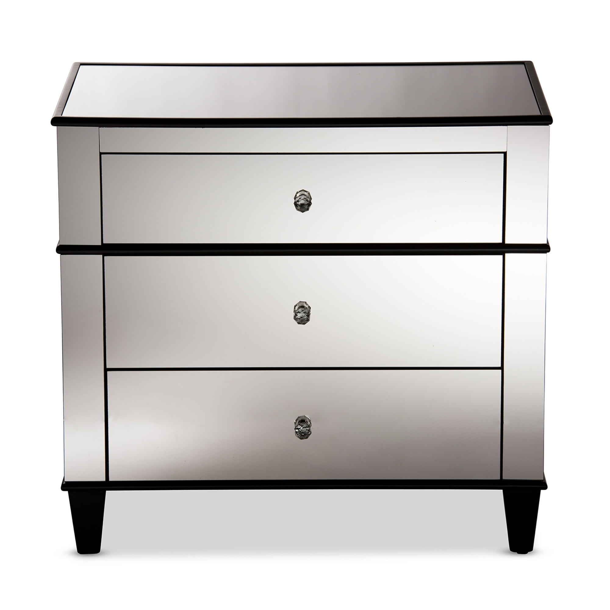 Baxton Studio Venetian Modern And Contemporary Hollywood Regency Glamour  Style 3 Drawer Mirrored Storage Chest