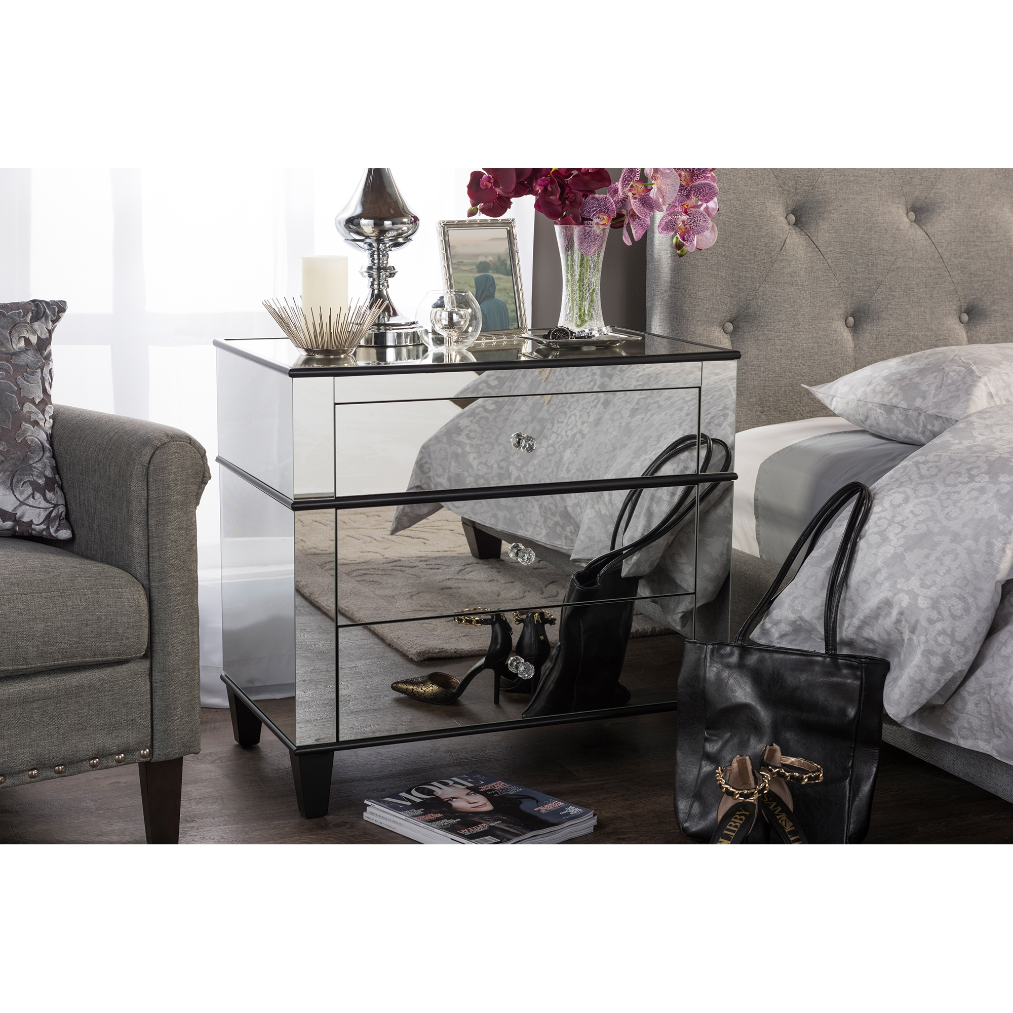 ... Baxton Studio Venetian Modern And Contemporary Hollywood Regency  Glamour Style 3 Drawer Mirrored Storage Chest