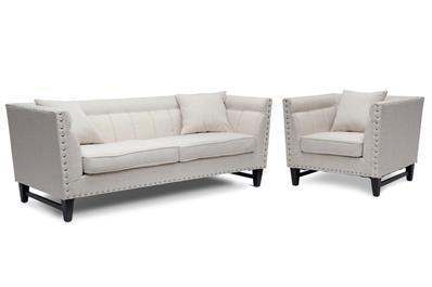 Baxton Studio Stapleton Beige Linen Modern Sofa and Chair Set ORG $900 SALE $810