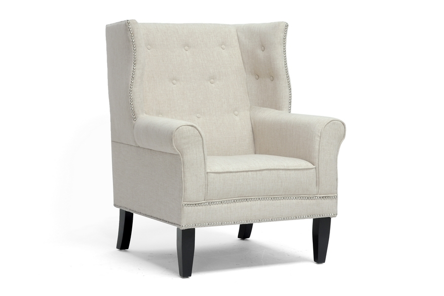 Baxton Studio Kyleigh Beige Linen Modern Arm Chair $284