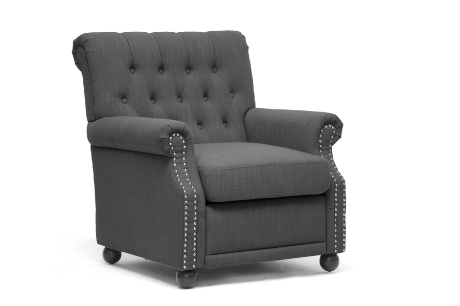 Baxton Studio Moretti Dark Gray Linen Modern Club Chair $283
