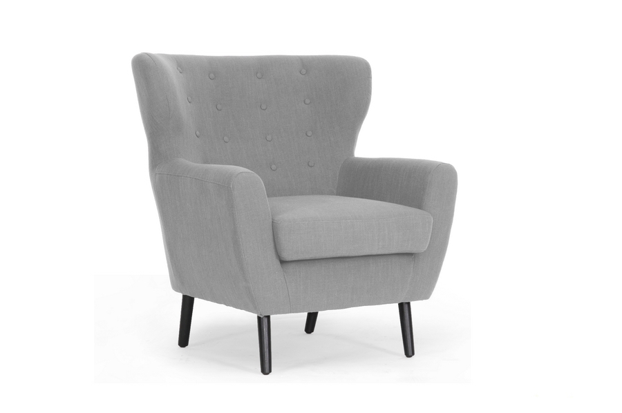 Baxton Studio Lombardi Light Gray Linen Modern Club Chair $258