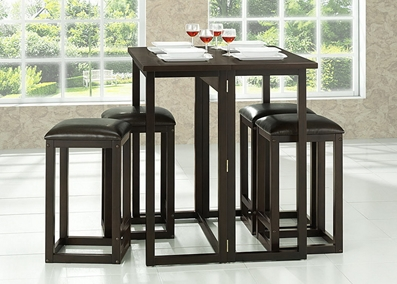 Baxton Studio Leeds Brown Wood Collapsible Pub Table Set $245