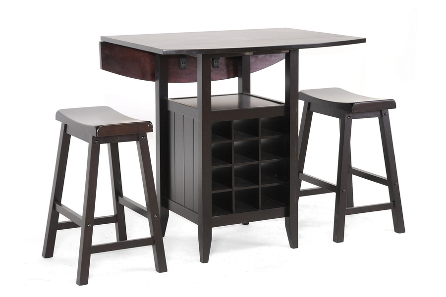 Baxton Studio Reynolds Black Wood 3-Piece Modern Drop-Leaf Pub Set with Wine Rack $202