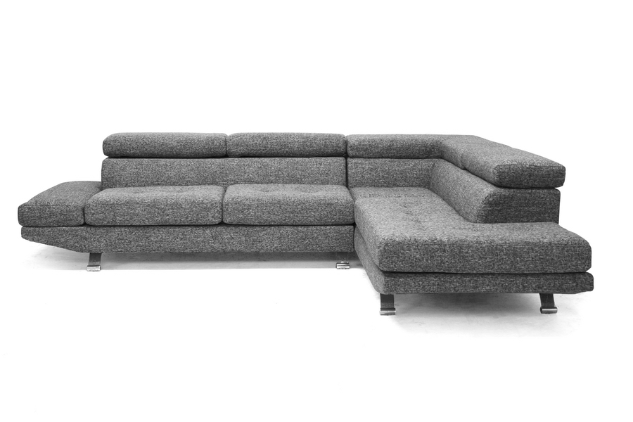 Baxton Studio Adelaide Gray Twill Fabric Modern Sectional Sofa