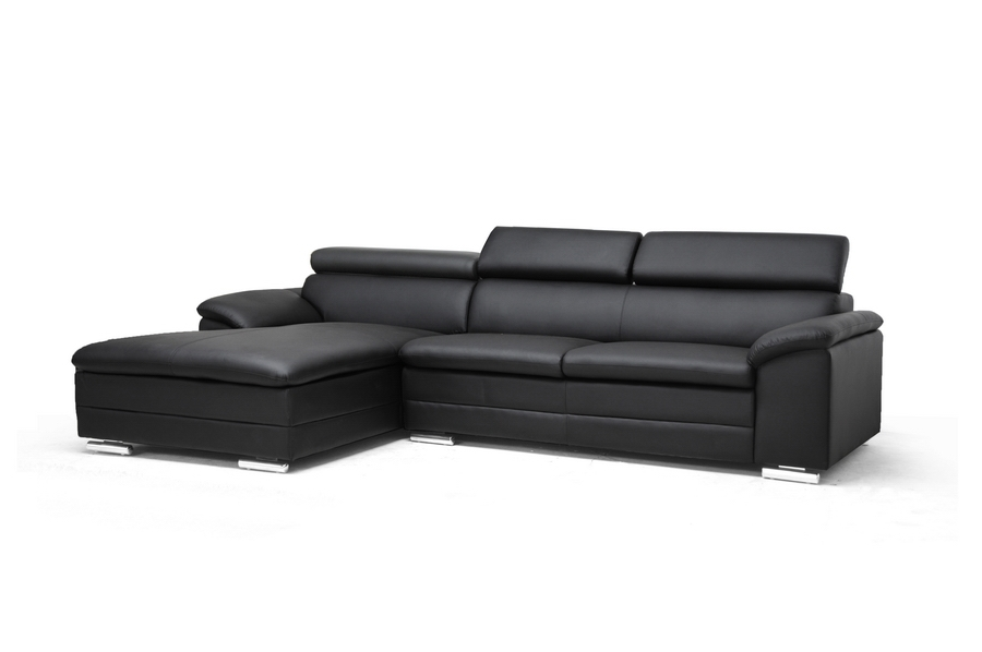 Franklin Black Modern Sectional Sofa with Adjustable Headrests $878