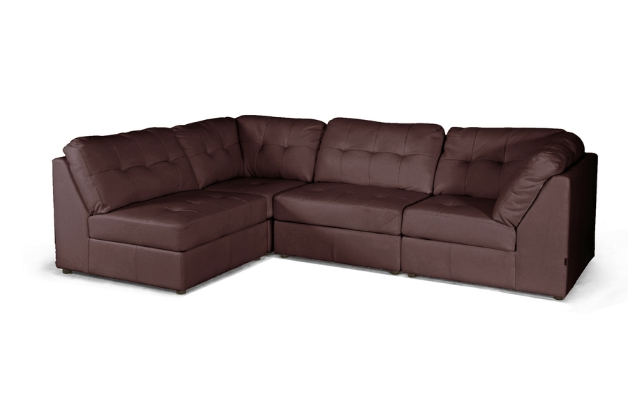 Warren Brown Leather Modern Modular Sectional Sofa Set $622