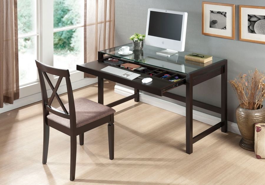 Modern Desk with Glass Top | Home Office Furniture | Affordable Modern